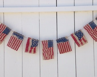 ON SALE 25% off Patriotic American Flag Burlap Banner, Patriotic Decor, 4th of July Banner, 4th of July Garland, Rustic Americana Bunting