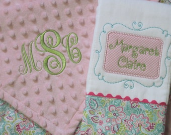 Personalized baby girl Lovey Blanket and Burp Cloth