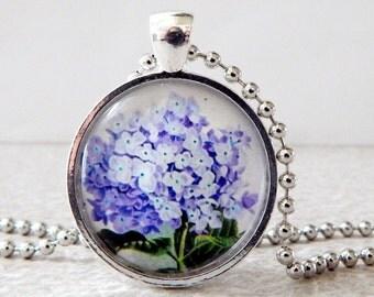 Hydrangea Pendant, Hydrangea Necklace, Hydrangea Jewelry, Blue Hydrangea Glass Pendant Necklace, Vintage Hydrangea Pendant Necklace