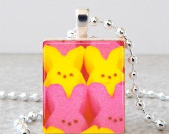 Marshmallow Peeps Scrabble Tile Pendant, Peeps Scrabble Necklace, Rabbit Scrabble Tile Art, Easter Pendant, Peeps Jewelry
