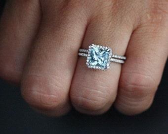 Aquamarine Wedding Ring Set in 14k White Gold with Aquamarine Princess Cut 7mm and Diamonds