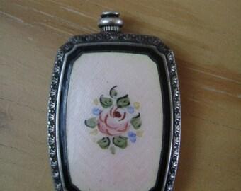 antique guilloche perfume bottle, sterling