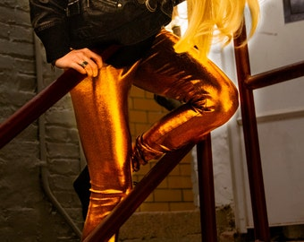 Metallic Copper Leggings
