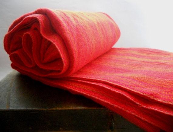 Vintage Swedish Wool Blanket Bright Orange Red Wool Blanket