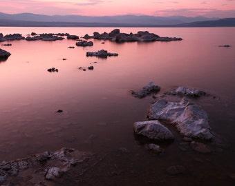 Eastern Sierra Mountains, Mono Lake, pink, purple, tufa, vibrant, granite, sunset, silhouette, photography, picture, print, fine art