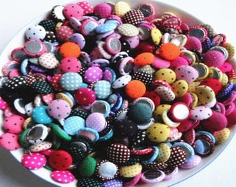 20pcs Mixed Color Fabric Flat Back Buttons, cloth polka dot buttons