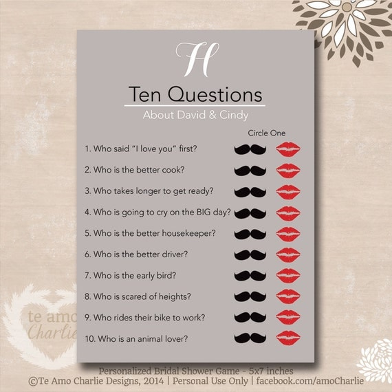 Bride And Groom Questionnaire: Ten Questions Bridal Shower Game Personalized By