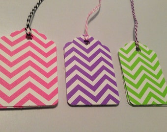 Chevron Gift Tags-You Choose the Color!  Lime Purple Pink with Bakers Ties Hand Punched