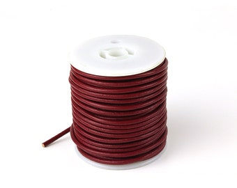 3mm Leather Cord, Dark Red Leather Cord, Genuine Round Leather Cord, Pkg of 30 ft., D0F7.DR32.L30F