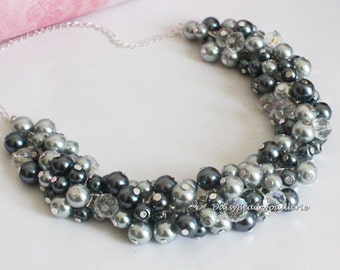 Shades of Gray Pearl Cluster Necklace, Gray Pearl Necklace, Bridesmaid Necklace, Shades of Gray Necklace, Bridesmaid Gray Cluster Necklace