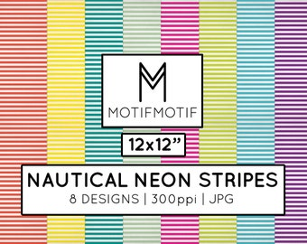 12x12 Breton Stripes Neon blog background Digital Paper Nautical Scrapbook Designs | Instant Download
