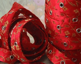 1yd Eyelet Metal Grommet Trim Tape on Double Sided Red Satin Floral Fabric Sturdy 3/4 inch wide bustiers corset Trim