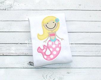 Mermaid Tshirt, Tee or Bodysuit, Personalized Mermaid Applique, Mermaid Shirt or Bodysuit