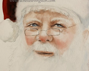 christmas Large decor art Christmas wall decor decoration christmas portrait painting santa painting art Print santa art PRINT artwork dp
