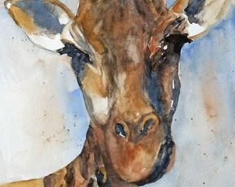 for him watercolor animal painting watercolor painting giraffe painting giraffe print giraffe art print giraffe ATC SMALL Trading Card