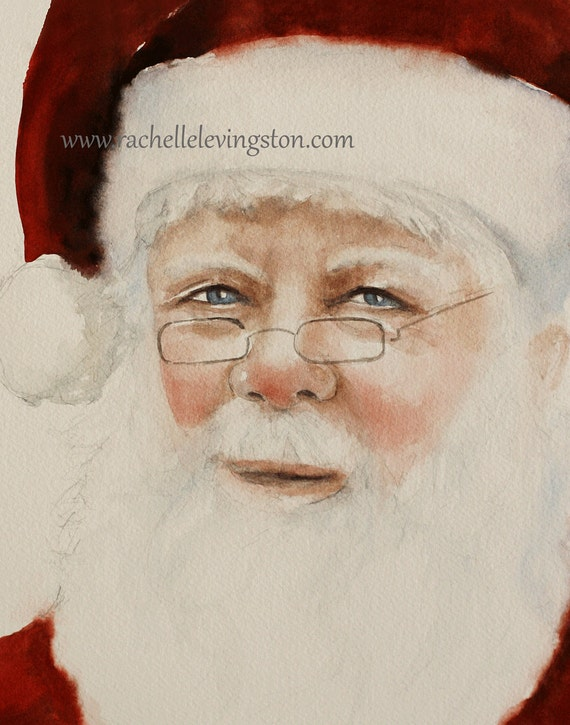 Christmas decoration for christmas portrait painting portrait santa painting art Print santa art PRINT santa print home decor artwork 11x14