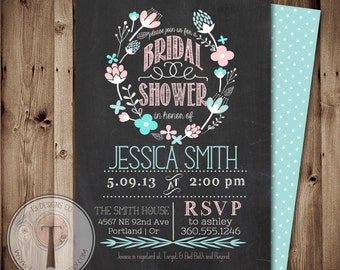 Printable Bridal Shower Invite/Bridal Shower INVITATION, Chalkboard Bridal Shower invitation, shabby chic bridal shower, baby shower invite