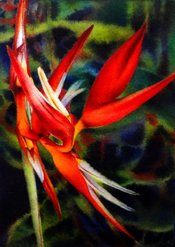 Heliconia Painting Red Orange Tropical Flower Painting