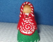 Christams Peppermint Gal, Eco-Friendly, Waldorf Inspired,Wool and Wood Peg People, Dollhouse Doll, Nature Table
