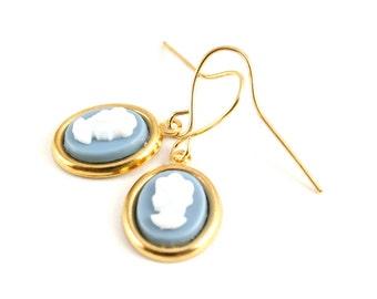 Cameo Earrings, Wedgewood Blue Cameo, Dangle Earrings