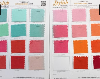 Rayon Jersey Knits SINGLE COLOR/Page Swatch Sample Card - 100% Rayon Jersey - 13237