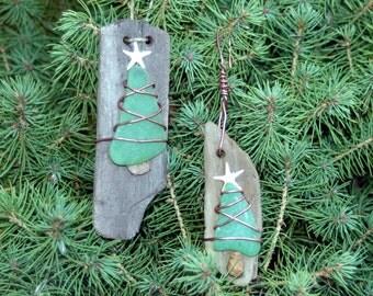 Driftwood Ornament,  Sea Glass Ornament, Christmas Tree Handmade Ornaments -Set of 2