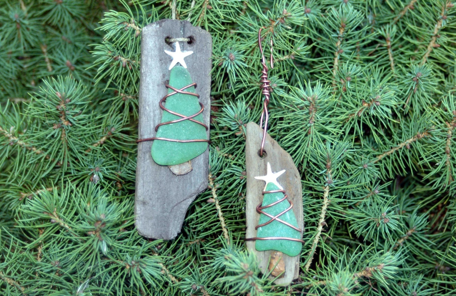 Driftwood Ornament Sea Glass Ornament Christmas Tree