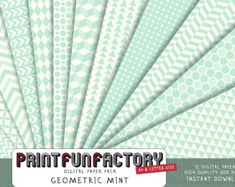 Mint geometric digital paper - background paper digital mint green soft retro color - 12 digital papers (099) INSTANT DOWNLOAD