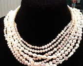 Blest Jewellery-Pearl Necklace - 4~8 MM 16-20 Inches 7 strands White Color Freshwater Coin Pearl  Pearl Necklace