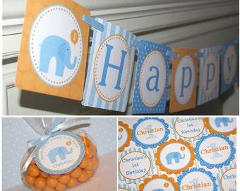 PRINTABLE/DIY - Little Peanut Blue Elephant Birthday Party Package, Elephant Party Theme, Blue Elephant Printables (Banner, Toppers & Tags)