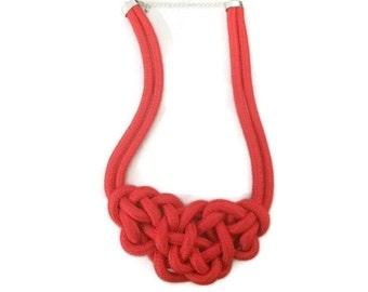 Knot Necklace, Rope Knot Necklace, Red Knot Necklace, Anthropologie Inspired