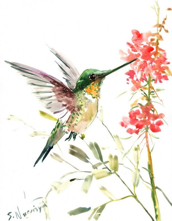 Hummingbird original watercolor painting 14 X 11 in flying