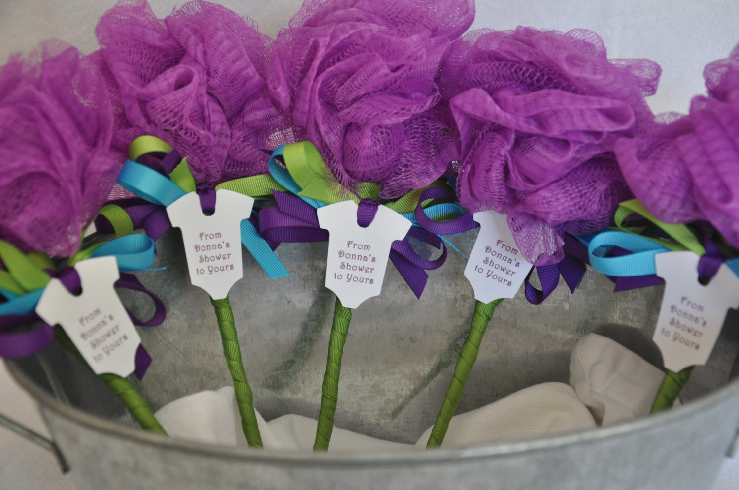 Unique baby shower favor purple turquoise and lime green bath - Unique girl baby shower themes ...