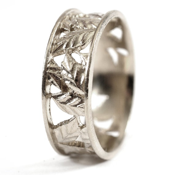 Leaf Ring Wedding Band Custom Made With Cherry Tree Leaves in 10K Gold, Made in Your Size R5005