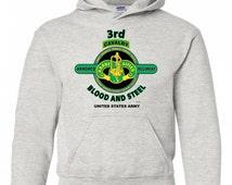 "3rd Armored Cavalry Regiment "" Brave Rifles"" Battle & Campaign Hoodie Sweatshirt w/Pockets."