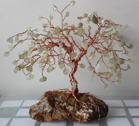 Sea Green Jade on Petrified Wood Healing Bonsai GEM TREE