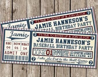 Baseball Ticket Invitation - Baseball Birthday Party Invitation - Boy Birthday Party - DIY Printable