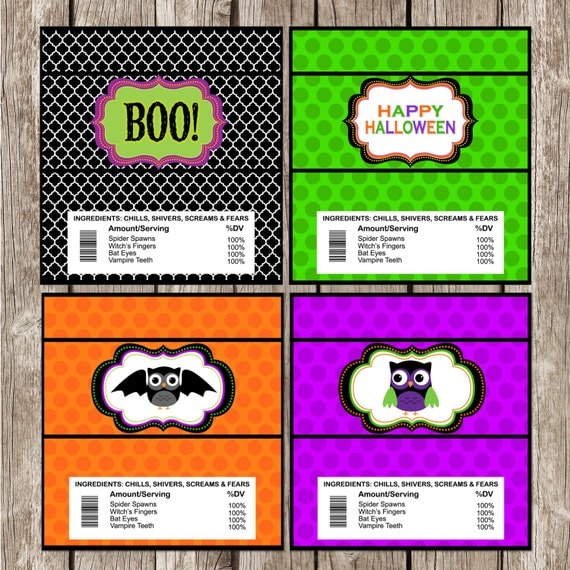 bat candy bar wrapper template - halloween party hoot owl candy bar wrappers halloween