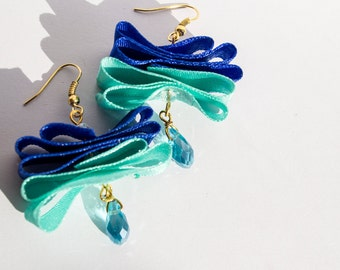 Blue Butterfly - Ocean Blue Ribbon Gold Dangle Drop Earrings