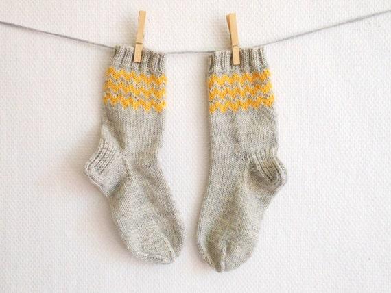 Hand knit wool socks in yellow and grey, slipper socks, women's boot socks, hiking socks, bed socks