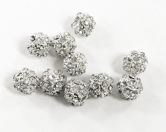 6mm Round  Pave Crystal Silver Bling Metal Ball Bead 10 Pcs BRS06-SC