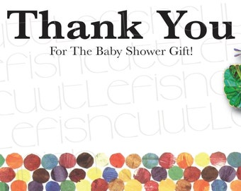 Very Hungry Caterpillar Thank You Card Design For Baby Shower- Instant Download
