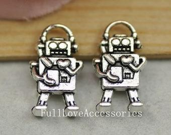 15pcs Antique Silver Mini Robot Charms Pendant 10x17mm Mechanic Charms Connector