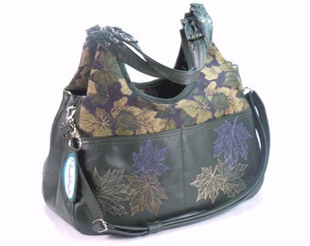 Leather and Tapestry Handbag - Genuine Leather Tote - Autumn Purse - Fall Leaves Satchel - Green Leather Bag - Cross Body Strap