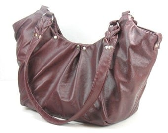 Genuine Leather Handbag - Plum Leather Purse - Leather Purse for Women - Marsala Leather Tote