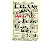 Black and Red I Carry Your Heart With Me Art Print, I Carry Your Heart E. E. Cummings Quote Art Print  On 1897 Dictionary Page, Mixed Media