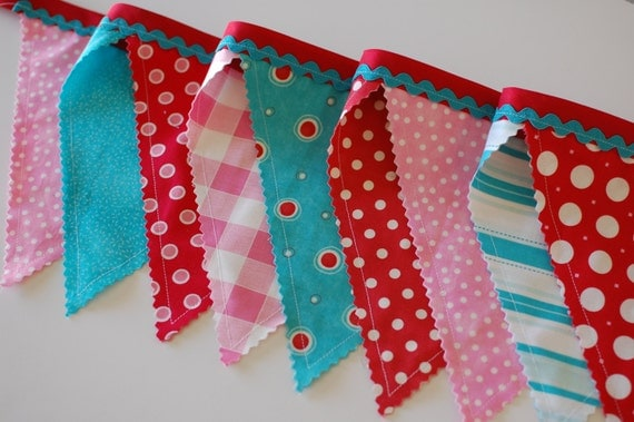 Ready to Ship Extra Large Fabric Bunting in Red, Aqua, & Pink - Valentine's Day, Holiday, Party, Decor, Photography, Mantel, Decoration