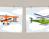 Airplane Art Nursery Print Set - Helicopter and Antique Airplane - Transportation Decor - Green and Orange