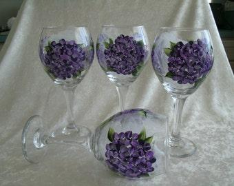 HYDRANGEA WINE GOBLETS, set of four