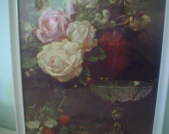 Vintage Rose Print with Raspberries and Cupid